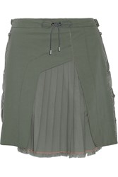 Tim Coppens Pleated Twill Paneled Denim Skirt Army Green