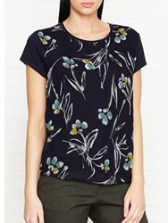 Jigsaw Floating Aster Silk Front Top Dark Navy