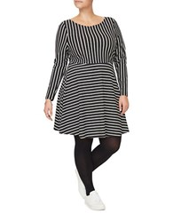 Junarose Anika Long Sleeve Striped Fit And Flare Dress Black White
