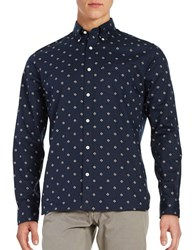 Brooks Brothers Twill Diamond Print Point Collar Sportshirt Navy