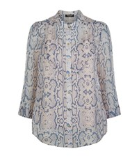 Juicy Couture Snakeskin Print Silk Collarless Shirt Female Light Grey