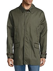 Brioni Leather Trimmed Cotton Silk Jacket Green