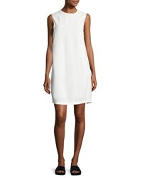 Helmut Lang Sleeveless Crepe Apron Front Shift Dress Off White