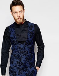 Noose And Monkey Vest With Stretch And Floral Flocking In Skinny Fit Deep Blue