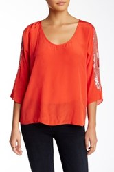 Plenty By Tracy Reese Open Shoulder Dolman Sleeve Top Red