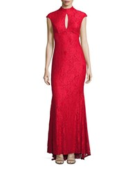Betsy And Adam Cap Sleeve Empire Waist Lace Gown Red