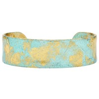 Evocateur Thin Gold Leaf Cuff Turquoise