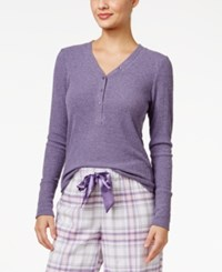 Alfani Ribbed Henley Pajama Top Only At Macy's Lilac Heather