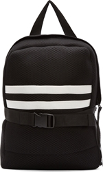Denis Gagnon Black Mesh White Striped Pocket Backpack