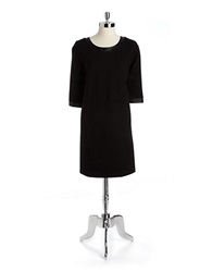 Lord And Taylor Petite Ponte Shift Dress With Faux Leather Trim Black