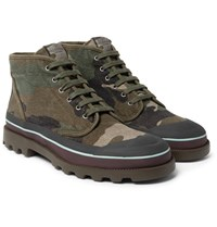 Valentino Camouflage Print Canvas Boots Green