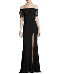 Faviana Off The Shoulder Stretch Crepe Gown Black