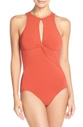 Women's Robin Piccone 'Ava' Keyhole One Piece Swimsuit Paprika