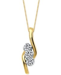 Macy's Diamond 3 Stone Pendant Necklace 3 4 Ct. T.W In 14K Gold No Color
