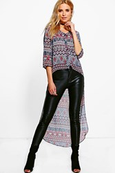 Boohoo Drop Hem Aztec T Shirt Blue