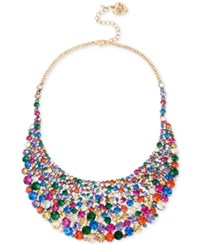 Betsey Johnson Gold Tone Multicolor Crystal Statement Necklace