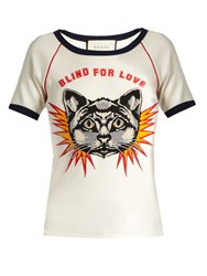 Gucci Blind For Love Print Cotton Jersey T Shirt White Multi