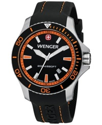Wenger Men's Swiss Sea Force Black Silicone Rubber Strap Watch 43Mm 0641.102