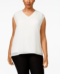 Calvin Klein Plus Size Chiffon Layered Blouse Soft White