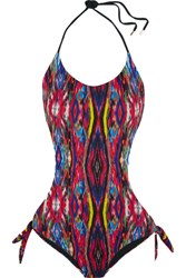 Matthew Williamson Sweetie Ragadang Cutout Printed Halterneck Swimsuit Black