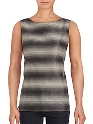 Lafayette 148 New York Josa Silk Blend Sleeveless Blouse Grey Multicolor