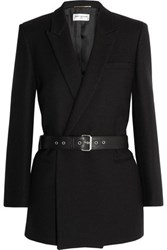 Saint Laurent Belted Double Breasted Wool Twill Blazer Black
