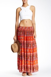 Raga Long Pleated Skirt Orange