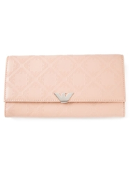 Emporio Armani Logo Embossed Wallet Pink And Purple