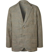 De Bonne Facture Unstructured Prince Of Wales Checked Washed Linen Blazer Green