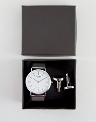 Reclaimed Vintage Classic Mesh Watch And Cufflinks Gift Set In Silver Silver