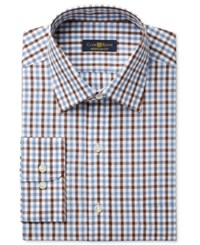 Club Room Estate Men's Classic Fit Wrinkle Resistant Chestnut Faded Gingham Dress Shirt Only At Macy's
