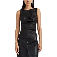 Narciso Rodriguez Gathered Side Leather Top Black