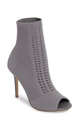 Charles By Charles David Women's Rebellious Knit Peep Toe Bootie Stone Grey Stretch Knit Fabric