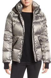 S13 Nyc Women's 'Kylie' Metallic Quilted Jacket With Removable Hood Silver