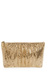 Whiting And Davis Shirred Mesh Pouch Clutch Metallic Gold