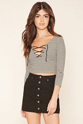 Forever 21 Lace Up Striped Crop Top