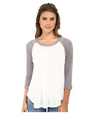 Lna Baseball Drape Tee White Heather Grey Women's T Shirt