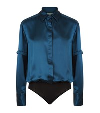 Alix Mercier Silk Satin Blouse Bodysuit Female Blue
