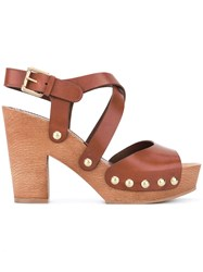 L'autre Chose Clogs With Crossover Straps Women Calf Leather Leather Rubber 38 Brown