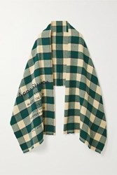Acne Studios Cassier Checked Wool Scarf Forest Green