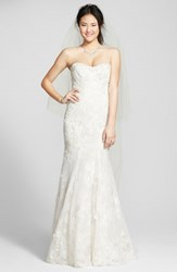 Women's Bliss Monique Lhuillier Strapless Beaded Lace Trumpet Gown Silk White Latte