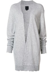 Rta Distressed Long Cardigan Grey