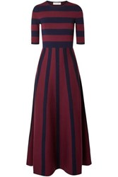 Gabriela Hearst Capote Striped Merino Wool And Cashmere Blend Maxi Dress Navy
