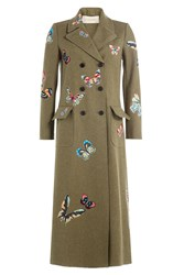 Valentino Wool Coat With Embroidered Butterfly Patches Green