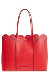 Draper James Solid Scallop Faux Leather Tote Red Lollipop Red