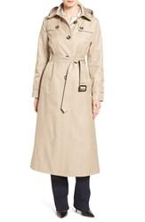 London Fog Women's Long Trench Raincoat With Removable Hood Toffee