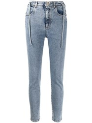 Alessandra Rich High Waisted Lace Up Side Skinny Jeans Blue