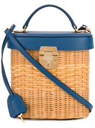 Mark Cross Benchley Rattan Tote Women Leather Rattan Fibres One Size Blue