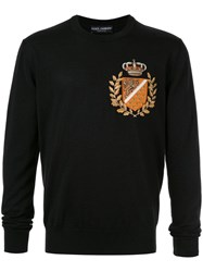 Dolce And Gabbana Embroidered Logo Knitted Sweater Black