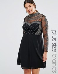 Lovedrobe Luxe Long Sleeve High Neck Mini Dress With Embellished Bodice And Sleeves Black